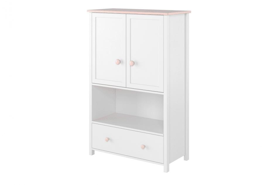 GIGLU Komoda z półkami dla dziewczynki biała biały/różowy - zdjęcie 0