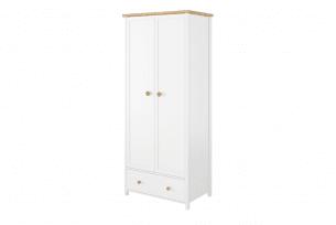 HUTTO, https://konsimo.pl/kolekcja/hutto/ Wysoka szafa do sypialni biały/dąb naturalny - zdjęcie