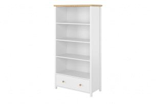 HUTTO, https://konsimo.pl/kolekcja/hutto/ Regał do sypialni z szufladą biały/dąb naturalny - zdjęcie