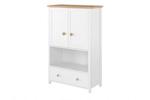 HUTTO, https://konsimo.pl/kolekcja/hutto/ Wysoka komoda do sypialni biały/dąb naturalny - zdjęcie