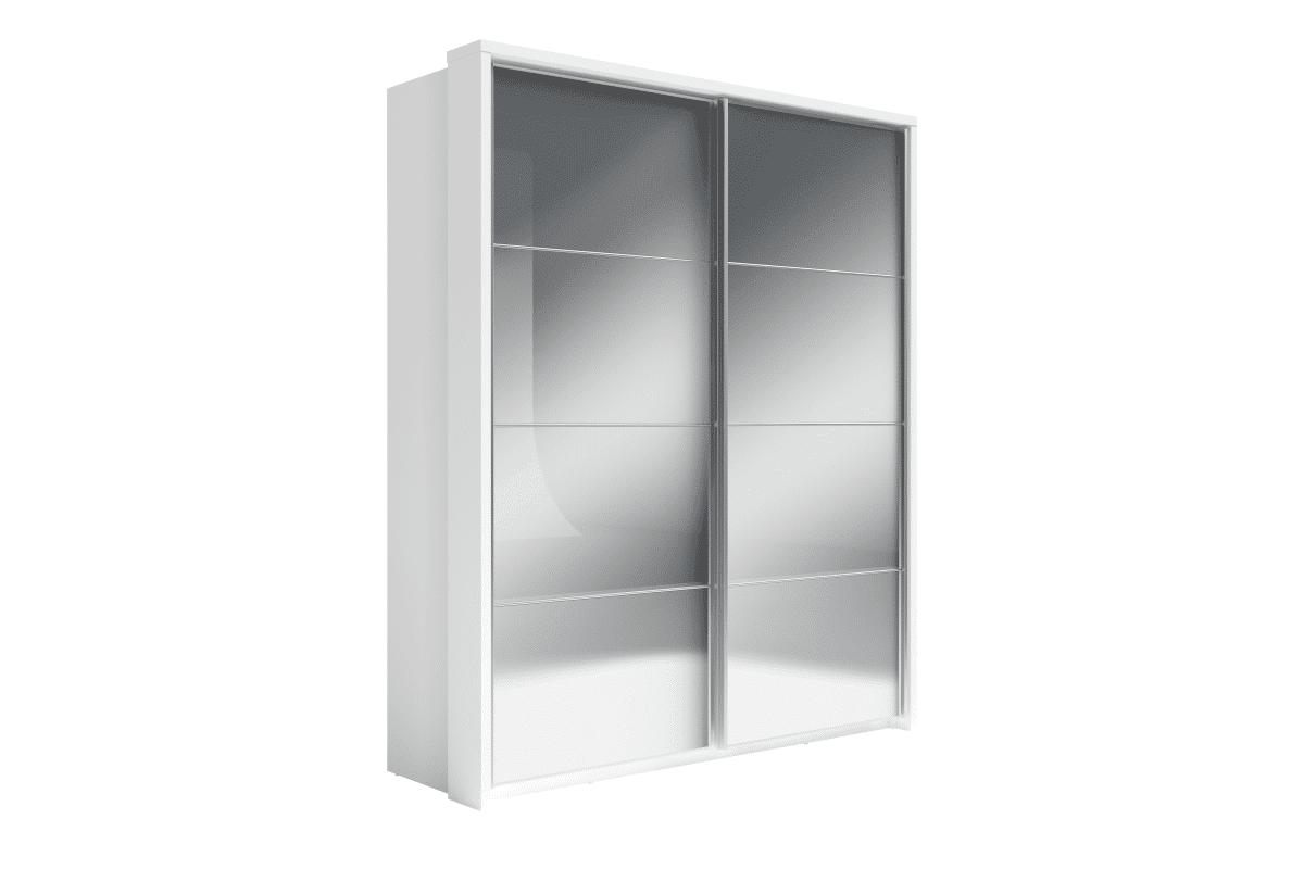 Duża lustrzana szafa biała