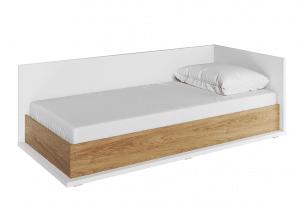 TINCTO, https://konsimo.pl/kolekcja/tincto/ Łóżko jednoosobowe z materacem 90x200 biały/hikora naturalna - zdjęcie