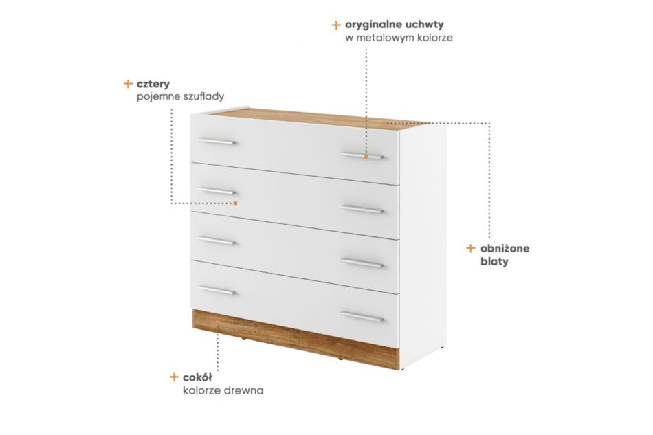 CALIBO Komoda do sypialni z szufladami biały/dąb stirling - zdjęcie 4
