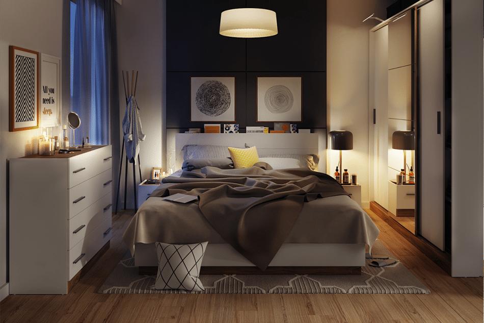 CALIBO Komoda do sypialni z szufladami biały/dąb stirling - zdjęcie 2
