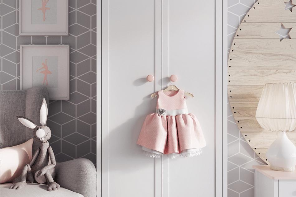 GIGLU Komoda z półkami dla dziewczynki biała biały/różowy - zdjęcie 2