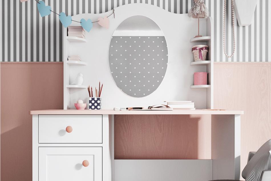 GIGLU Komoda z półkami dla dziewczynki biała biały/różowy - zdjęcie 5