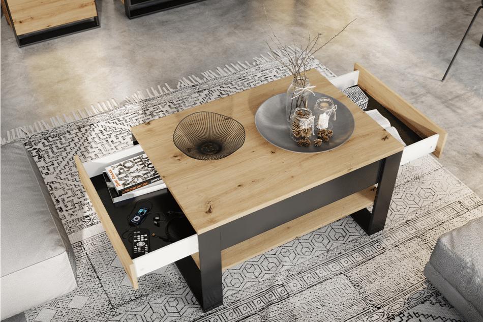 HURICO Komoda z półkami loft dąb artisan/czarny - zdjęcie 5