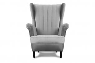 ABELO, https://konsimo.pl/kolekcja/abelo/ Fotel uszak na nóżkach jasnoszary jasny szary - zdjęcie