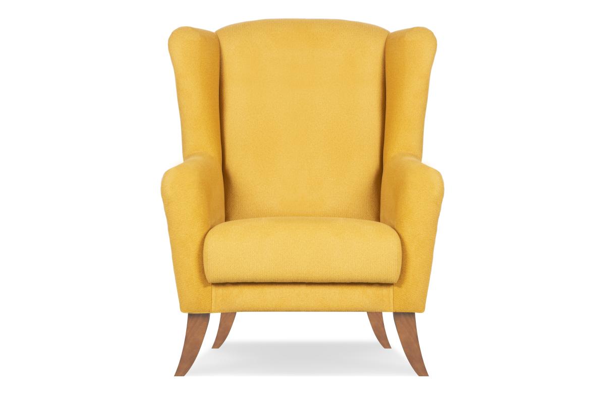 Skandynawski fotel uszak żółty
