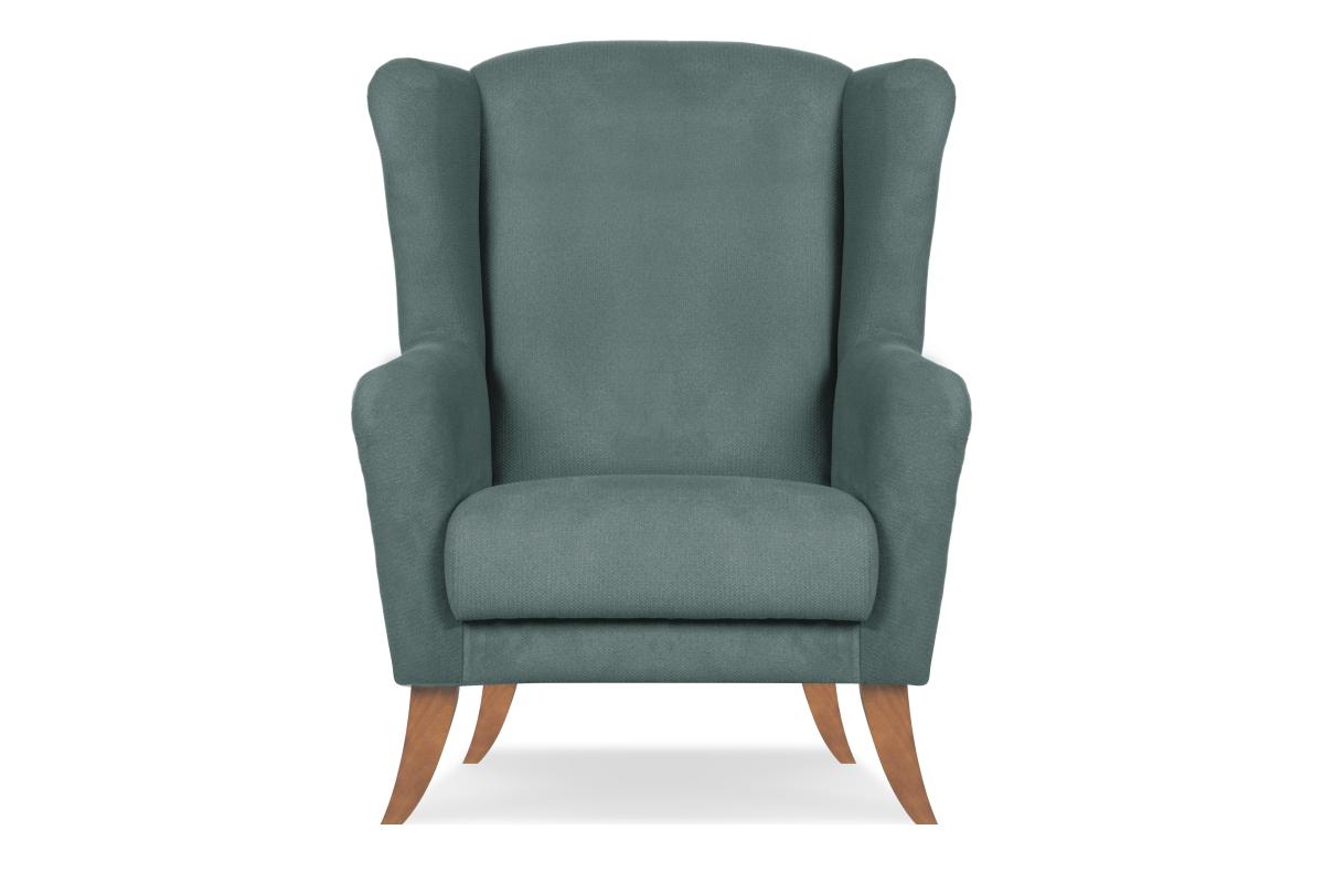 Skandynawski fotel uszak niebieski