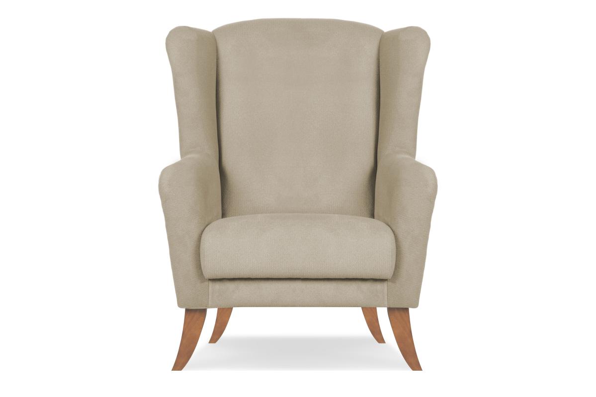 Skandynawski fotel uszak brązowy