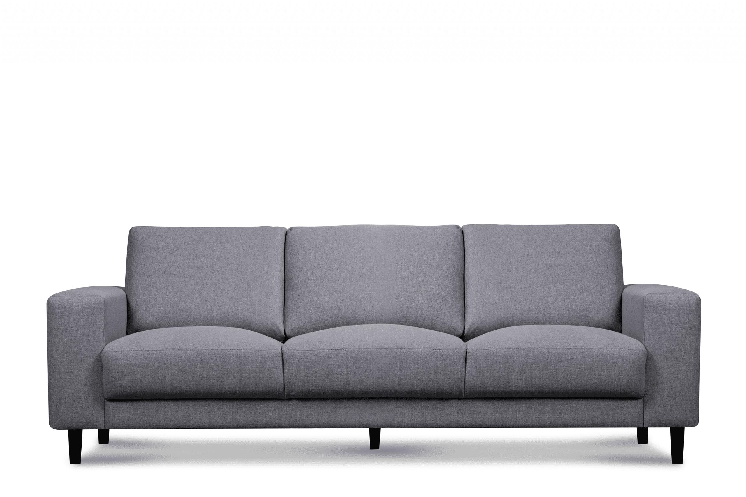 Nowoczesna sofa trzyosobowa na nóżkach jasnoszara