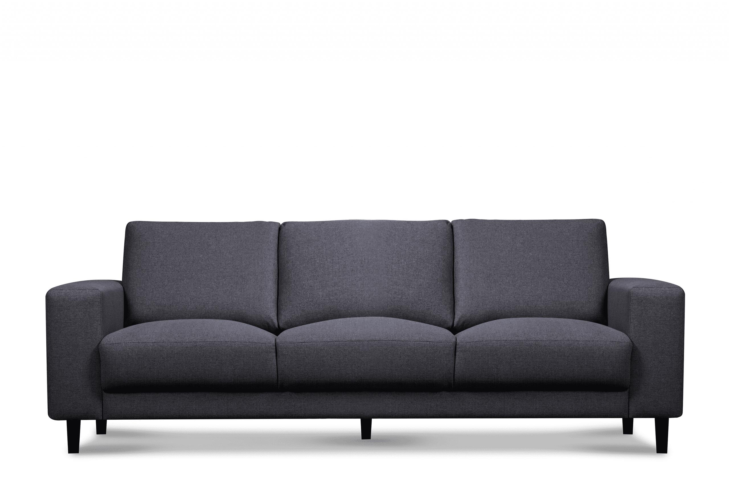 Nowoczesna sofa trzyosobowa na nóżkach szara