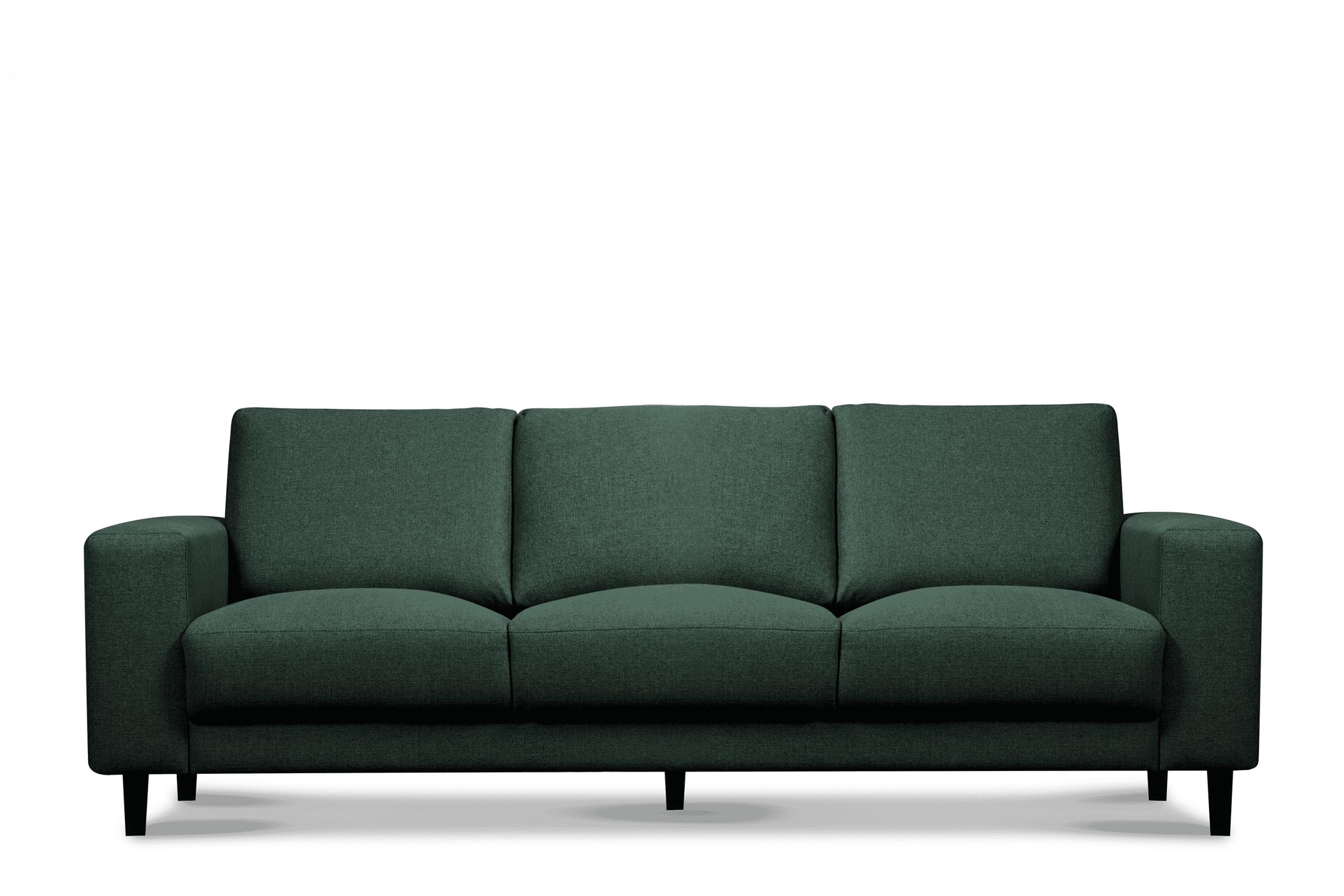 Nowoczesna sofa trzyosobowa na nóżkach zielona