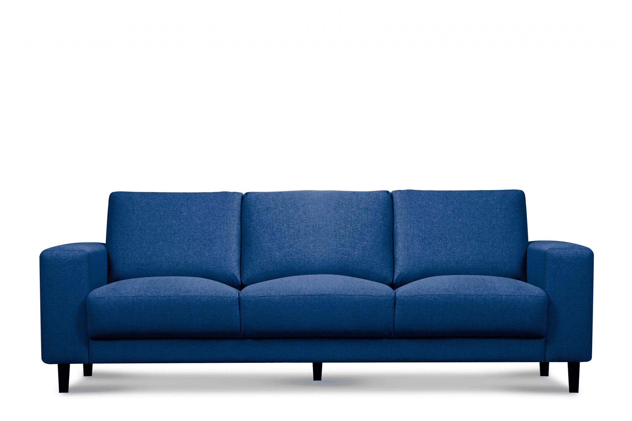 Nowoczesna sofa trzyosobowa na nóżkach niebieska
