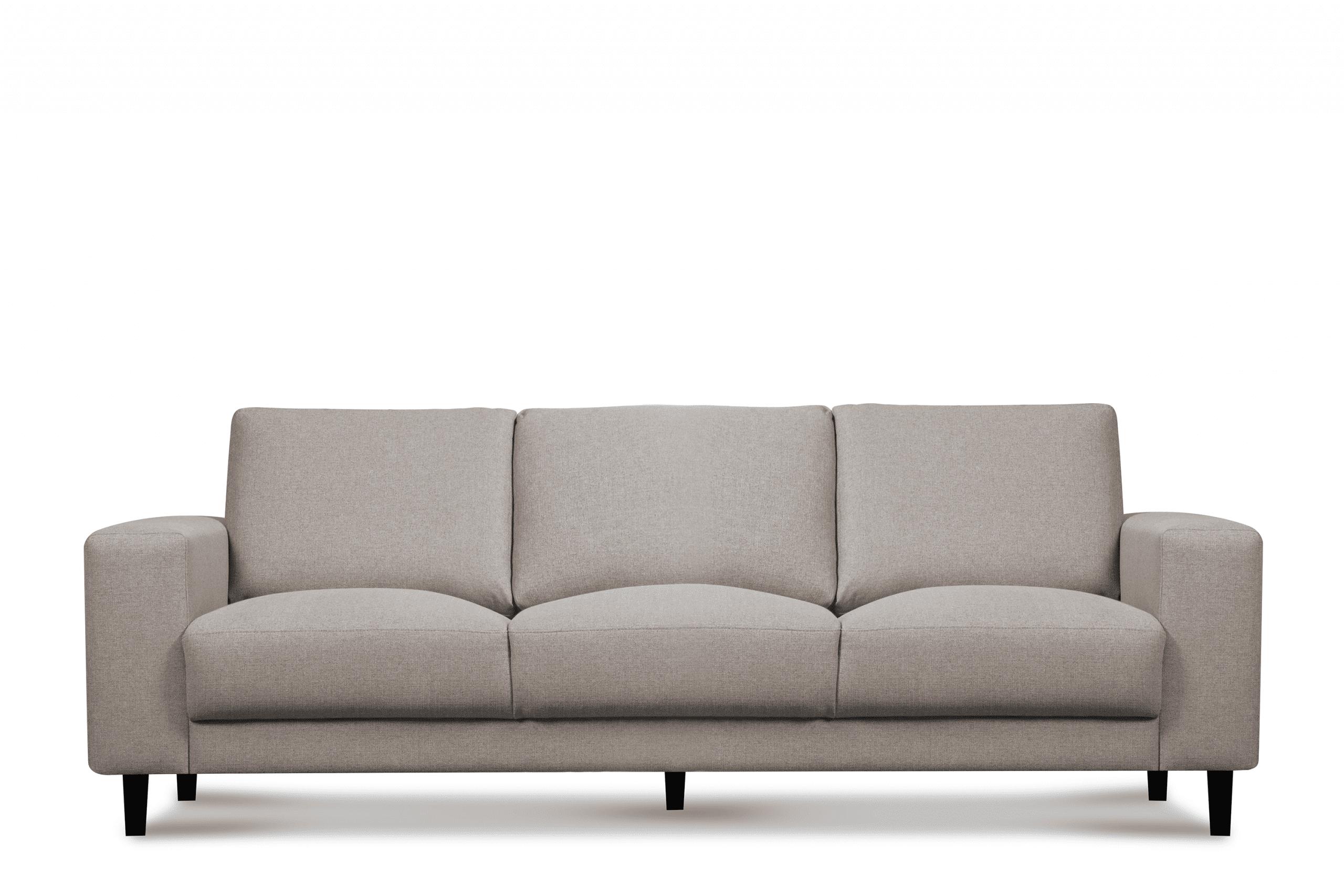 Nowoczesna sofa trzyosobowa na nóżkach beżowa