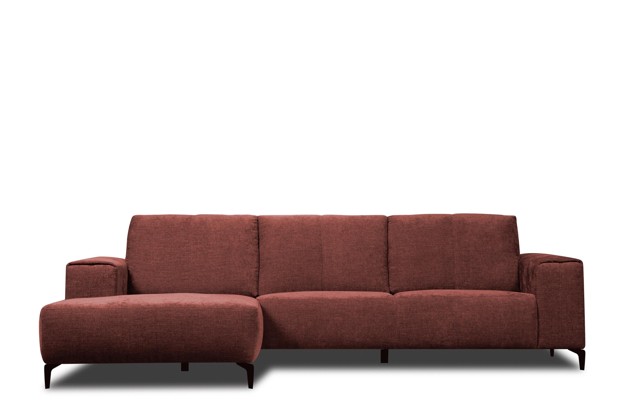 Narożnik lewy loft tkanina typu plecionka czerwony