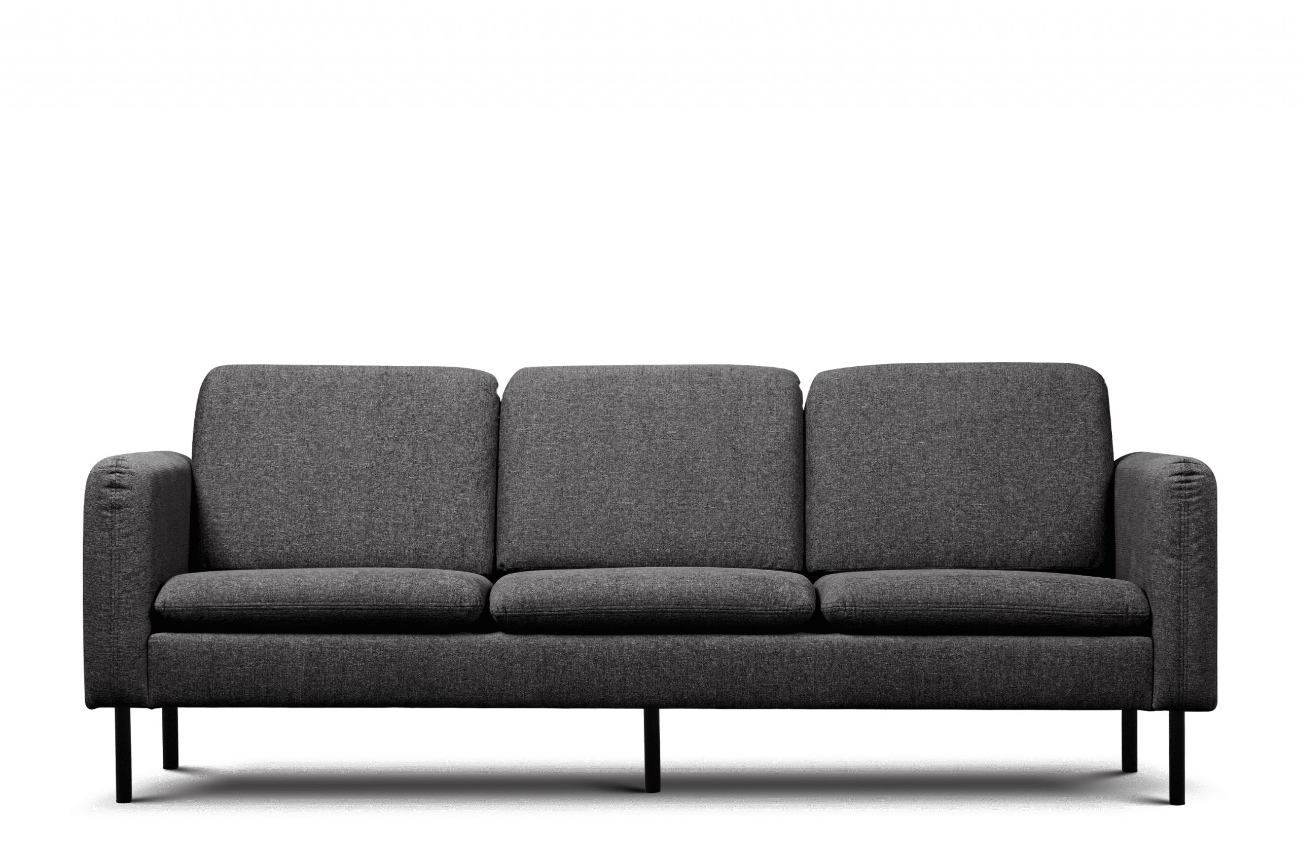 Sofa 3 osobowa na czarnych prostych nóżkach antracytowa