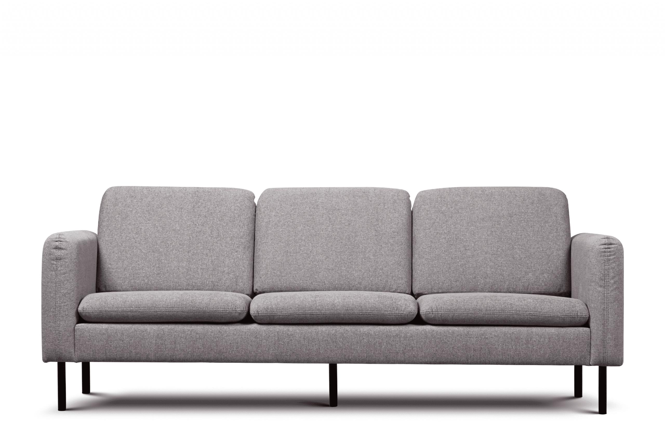 Sofa 3 osobowa na czarnych prostych nóżkach szara