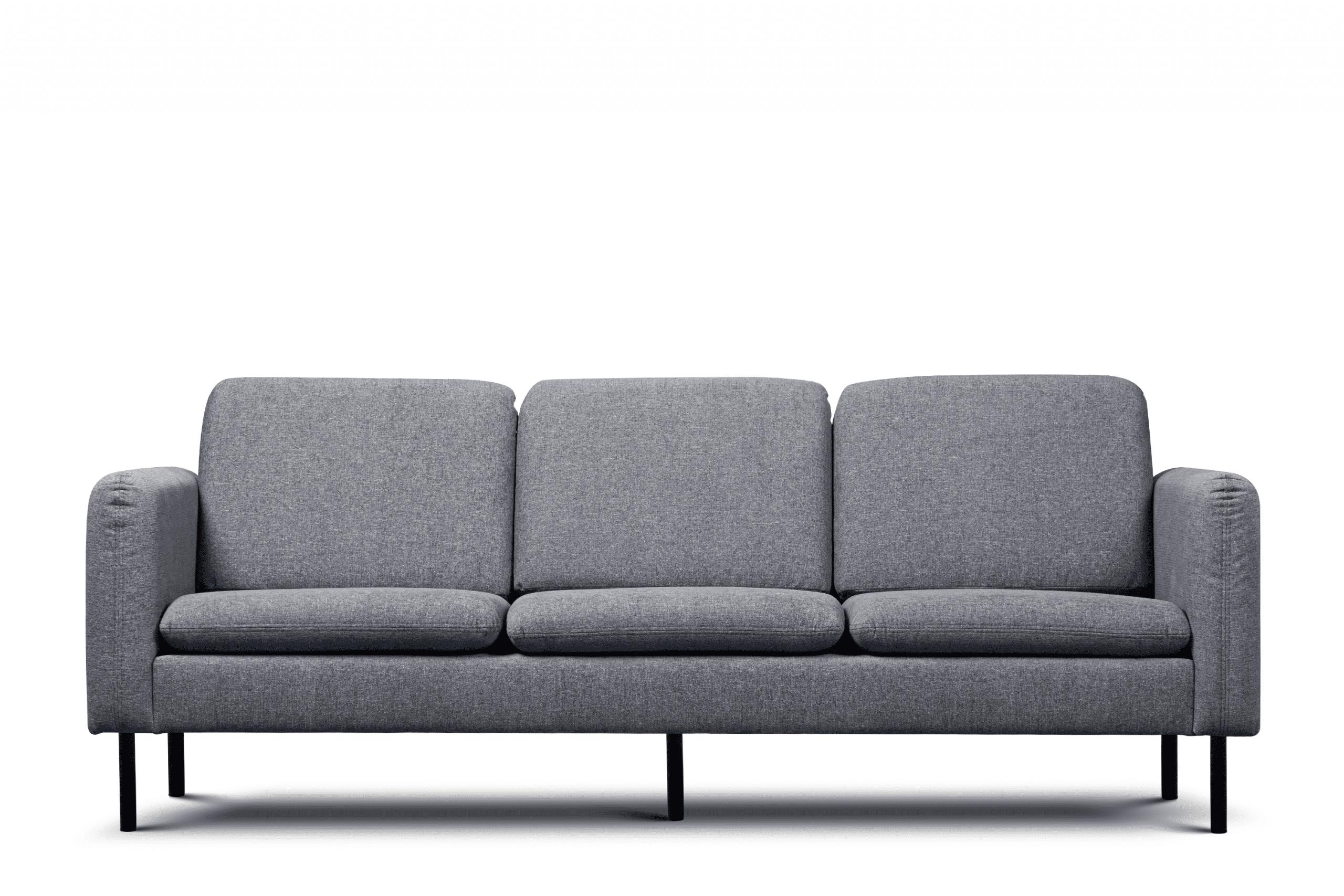 Sofa 3 osobowa na czarnych prostych nóżkach ciemnoszara