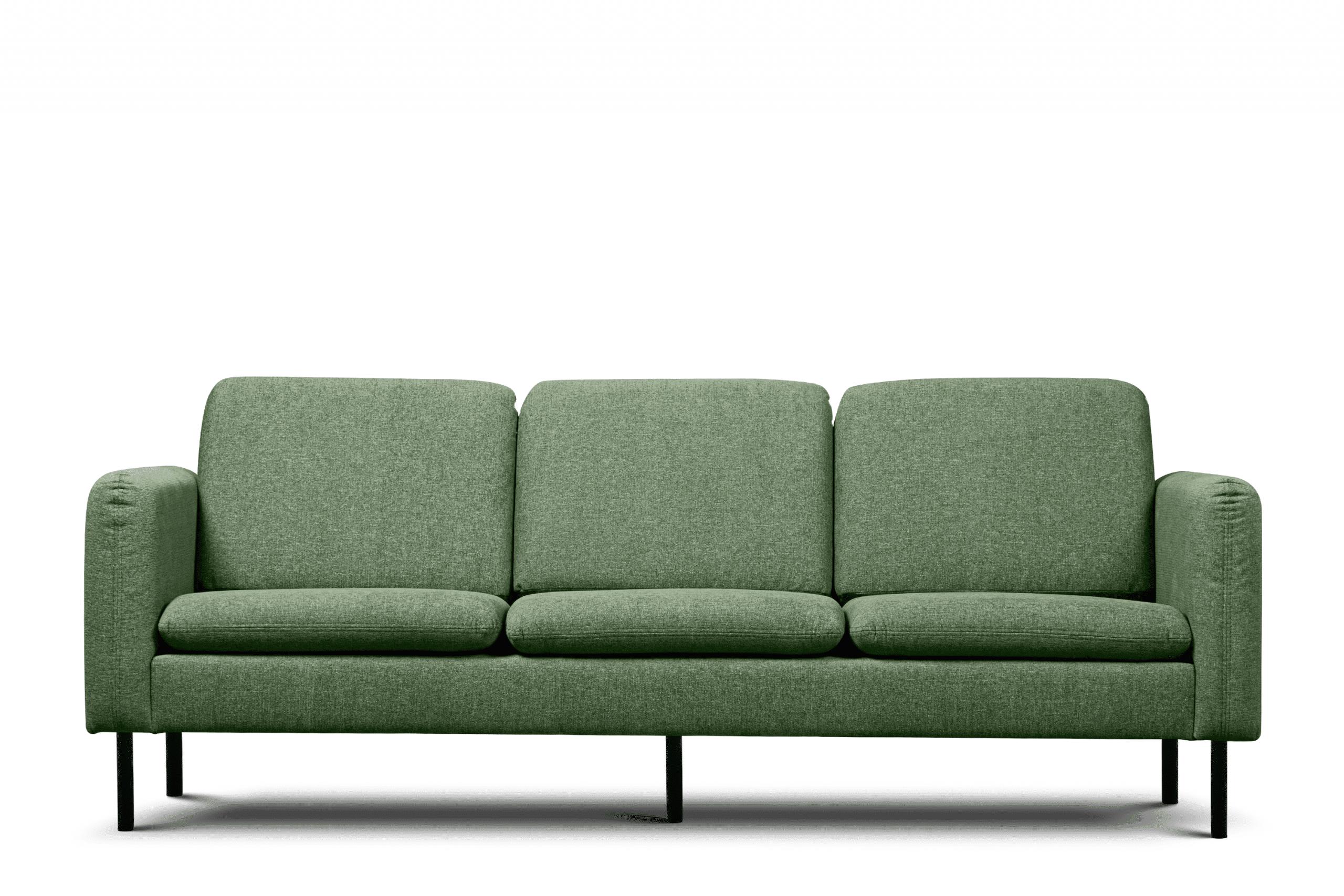 Sofa 3 osobowa na czarnych prostych nóżkach ciemnozielona