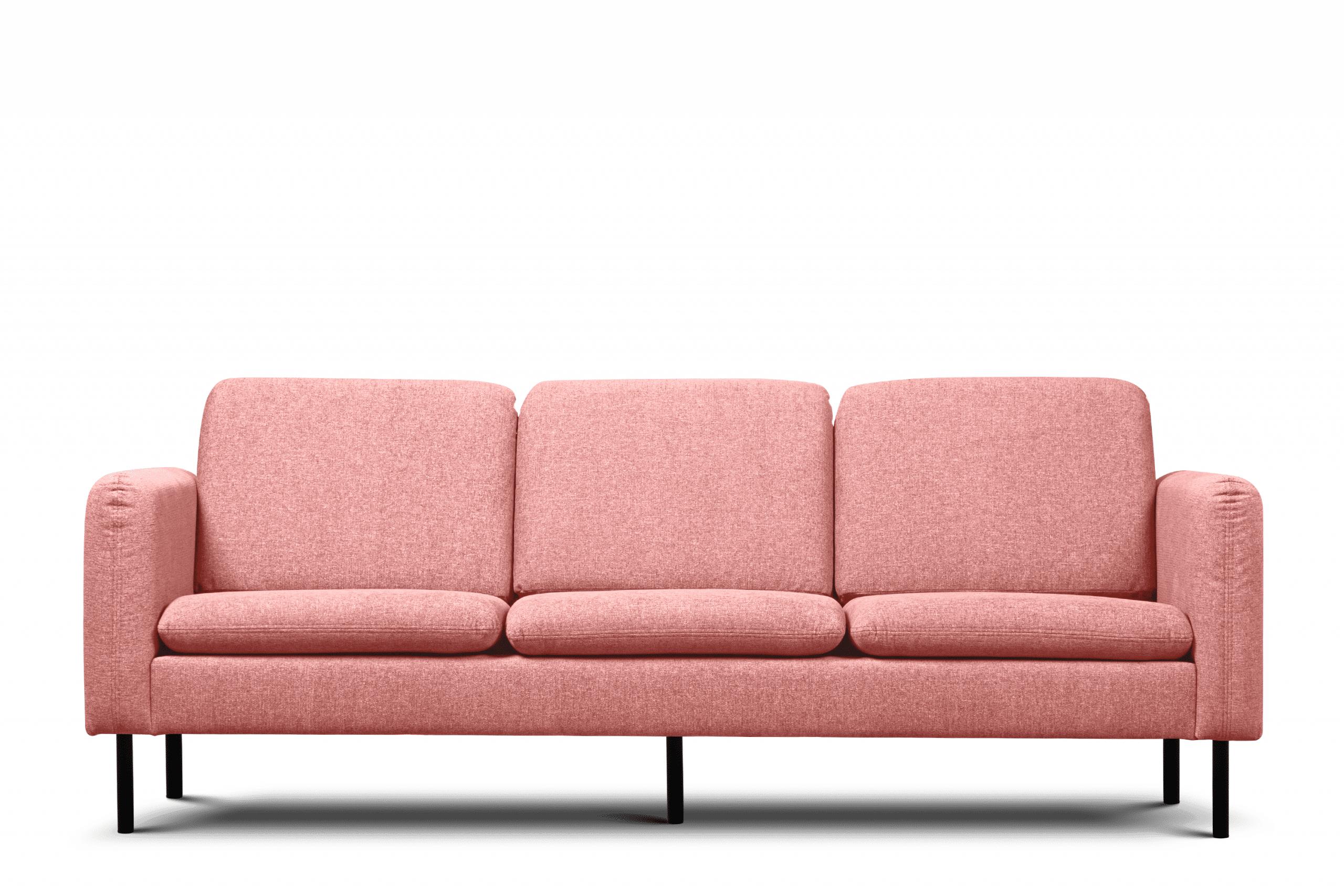 Sofa 3 osobowa na czarnych prostych nóżkach różowa