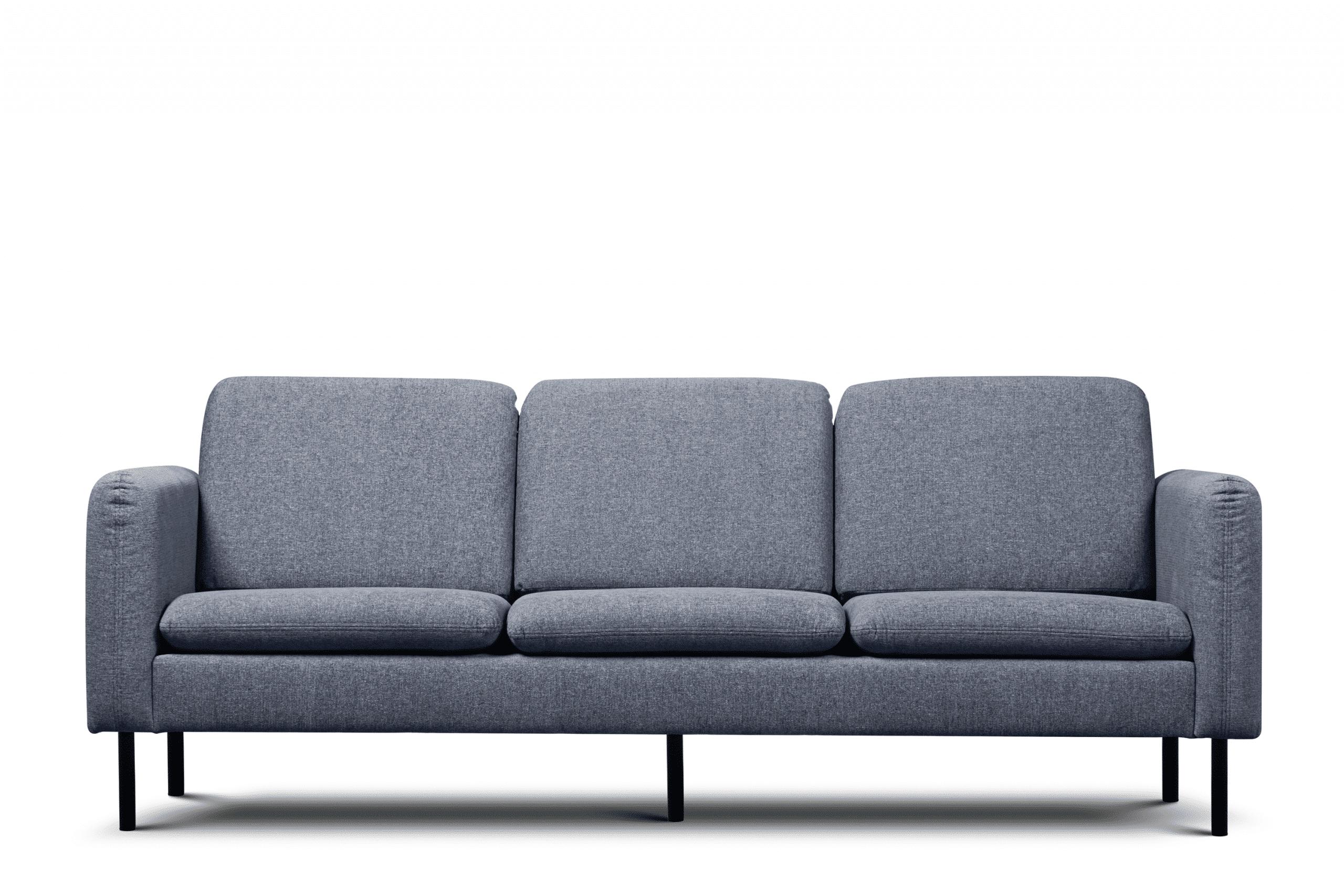 Sofa 3 osobowa na czarnych prostych nóżkach granatowa